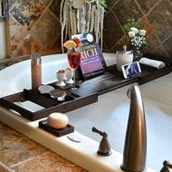 浴缸架伸縮防滑歐式多功能泡澡手機架子置物板棕色出口浴缸置物架 JD【美物居家館】