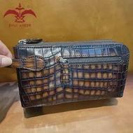 Richแฟชั่น! 100% ของแท้หนังCroกระเป๋าคลัทช์บุรุษกระเป๋าถือPatinaสีส้มน้ำเงินสีทำด้วยมือ