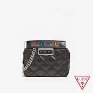 GUESS-女包-LUXE菱格紋時尚方形手提鍊條包-黑