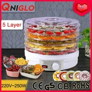 Qniglo Food Dehydrator Healthy Green Food Drying Machine Fruit Vegetables Dryer With Five Drying Racks