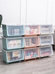 前開式收納箱 前開式收納箱塑膠抽屜式收納盒兒童玩具零食衣物整理箱翻蓋儲物箱『MY4259』