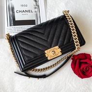 "New Chanel Boy 10"" Chevron Caviar CHANEL"