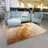【山德力】薇尼絲地毯 -晨曦金160x230cm(地墊 柔順 漸層 質感 長毛 除舊佈新)