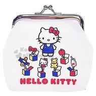 【小禮堂】Hello Kitty 皮質口金零錢包《紅白.驚奇箱》收納包.耳機包