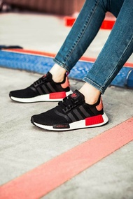 KUMO SHOES-ADIDAS NMD R1 W BOOST 慢跑鞋 女鞋 黑粉紅色 D97088