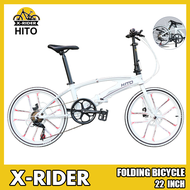 Hito X6 Folding Bicycle White 22 Inch Double Tube Ultra Light Portable Road Foldable Bike With Disc Brake Aluminum Alloy Free Installation(Customize 20 inch please leave message)