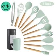 木柄矽膠廚具 11件套 木柄矽膠 廚具套裝 收納桶裝 清新綠 不粘鍋鏟廚具 湯勺套件 湯匙鏟子