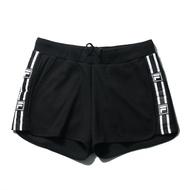 【領券滿$2000最高折$250】FILA 短褲 黑 側邊白串標 綁帶 針織短褲 休閒 女 (布魯克林) 5SHV1436BK