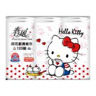 【春風】Hello Kitty午茶風印花廚房紙巾120組*6捲*8串