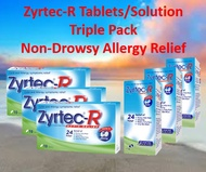 [Zyrtec-R] Tablets/Solutions Triple Pack *Non-Drowsy Rapid Relief of Allergy Cold Flu and Itch*
