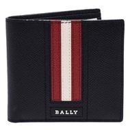 【BALLY】經典紅白紅條紋荔枝紋牛皮摺疊包短夾/鑰匙圈禮盒組(黑X紅6219496)