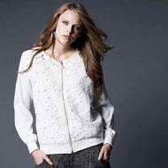 【HEDY赫蒂】珍珠墜式棉質  蕾絲緹花拉外套(白色/ 黑色)