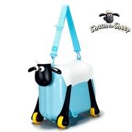 กระเป๋าเดินทางเด็ก กระเป๋าเด็ก กระเป๋าล้อลากเด็ก กระเป๋ารถ กระเป๋าใส่ของ ทรง Shaun The Sheep [สีฟ้า] : Shaun the Sheep Riding suitcase luggage bag suitcase ride children toy cartoon