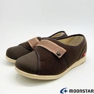 ◍零碼◍日本月星Moonstar機能介護鞋PASTEL系列4E寬楦輕量防止絆倒鞋款4053咖啡(銀髮段)SUPER SALE樂天購物節