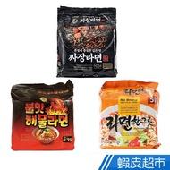 韓國 NO BRAND 經典炸醬拉麵/火辣海鮮炒碼風味拉麵/經典辣牛肉風味拉麵 5入裝 蝦皮24h 現貨
