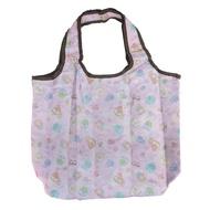 【小禮堂】角落生物 折疊尼龍環保購物袋 保冷提袋 環保袋 側背袋  粉 睡衣
