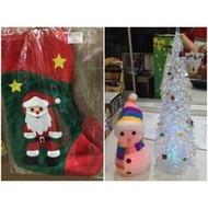 聖誕老公公襪子禮物袋 桌上型燈光聖誕樹/燈光雪人(39元)
