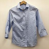 義大利NARA CAMICIE光澤感藍色條紋襯衫1號