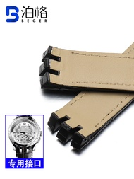 Swatch Swatch strap leather for YRS403 412 402G watch strap accessories double notch 21mm