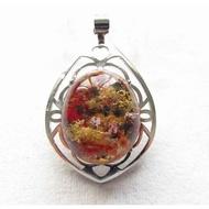 超美紅黃綠三色幽靈鑲邊晶體超透彩色花幽靈掛墬吊墬墬子項鍊掛件玉珮38mm珠寶玉石寶石首飾玉墬飾品