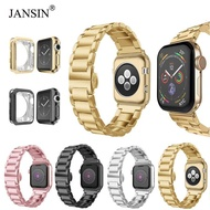 JANSIN Slim Stainless Steel Band Metal Strap + Case Butterfly Clasp Replacement Band For Apple Watch Series 6 SE 5 4 40mm