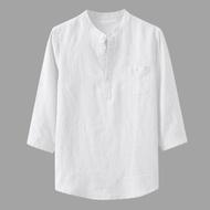 T Shirt untuk Lelaki Jualan Lelaki Baggy Kapas Linen Pepejal Tiga Suku Lengan Poket Berdiri Baju Kolar