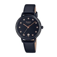 5Cgo CASIO SHEEN black IP ion crystal grace belt ladies watch SHE-4056BL-1A Taiwan卡西欧