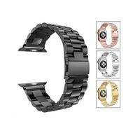 Apple Watch Series1/2/3/4/5/6/SE代 通用 錶帶配件 蘋果手錶金屬不銹鋼金屬三珠智能手錶帶
