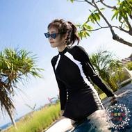 泳衣女 新款泳衣女士專業運動連體平角保守顯瘦遮肚潛水長袖溫泉泳裝