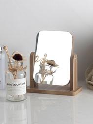 新款木質臺式化妝鏡子 高清單面梳妝鏡美容鏡 學生宿舍桌面鏡大號1入