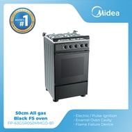 Midea 50CM Black 4 Gas Burner Cooking Range / Gas Range with Oven (55L)Appliances on Sale  (FP-63GSR050MMGO-B1)
