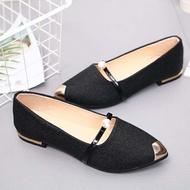 SUNLIGHTT รองเท้าคัชชูหัวแหลม ส้นเตี้ย สายคาดประดับมุก รองเท้าแฟชั่นผู้หญิงเรียบหรู ใส่ออกงานสวยๆ เบอร์ 35-40