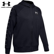 【UNDER ARMOUR】UA 女 Rival Fleece Sportstyle LC Sleeve Graphic 連帽外套(黑)