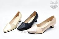 รองเท้าคัชชูปลายแหลม รองเท้าออกงาน  รองเท้าทำงาน รองเท้าส้นสูง 1-2นิ้ว รุ่น TG147 (สีดำ / ทอง / นาค) ไซส์ 35-40
