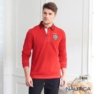 Nautica經典素面長袖POLO衫-亮紅