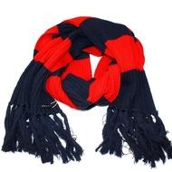 【agnes b.】時尚粗橫條撞色 針織保暖長圍巾(紅+藍黑)