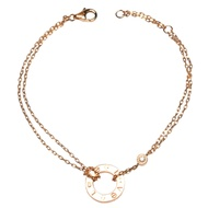 Cartier 經典LOVE系列鑽石鑲嵌金環雙鍊手環(金)