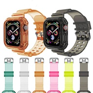 ZHUGE Durable Crystal Clear Silicone Adjustable Sport Strap Compatible with Apple Watch Watch Band Compatible with Watch Series6/5/4/3/2/1/SE