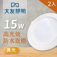 【大友照明】LED防水崁燈 15W - 黃光 - 2入(LED崁燈)