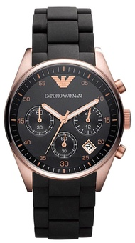 Emporio Armani_Women's Black PVD Rose Gold Pleated Watch AR5906