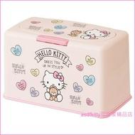 asdfkitty可愛家☆KITTY抱泰迪熊粉紅色口罩收納盒-約可收納60個紙口罩-日本正版商品