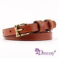 【Decoy】古銅方框*典雅細真牛皮皮帶/駝