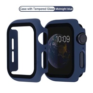Watch Cover Case for Apple Watch 6 SE 5 4 40MM 44MM PC Bumper with Glass Protector Film for i watch Series 3 2 1 38MM 42MM accessories