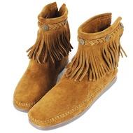 MINNETONKA 棕色麂皮後拉鍊流蘇莫卡辛短靴 女鞋