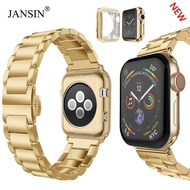 JANSIN Slim Stainless Steel Band Metal Strap + Case Butterfly Clasp Replacement Band For Apple Watch Series 6 SE 5 4 44mm
