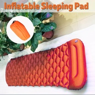Outdoors Inflatable Sleeping Mat Pad Soft Foldable Portable Mattresses Pillow Orange