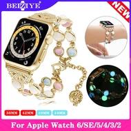สายนาฬิกา Night Light Watch Strap For Apple watch 6 SE band 44mm 40mm i watch 3 2 1 38MM 42MM Adjustable Wristband bracelet Luminescence Women Watch Strap for apple watch series 6 5 4 3 2 SE