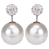 tuds Shiny White Vintage Earrings Ball  Classic Button Pearl