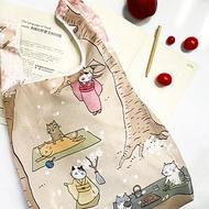 Sunny Bag x 貓小姐Ms.Cat 摺疊購物袋-櫻花與貓