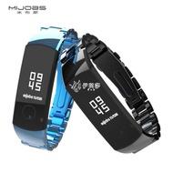 智慧手環 mijobs 適用華為榮耀手環4表帶金屬替換帶榮耀4智慧手環5腕帶nfc版